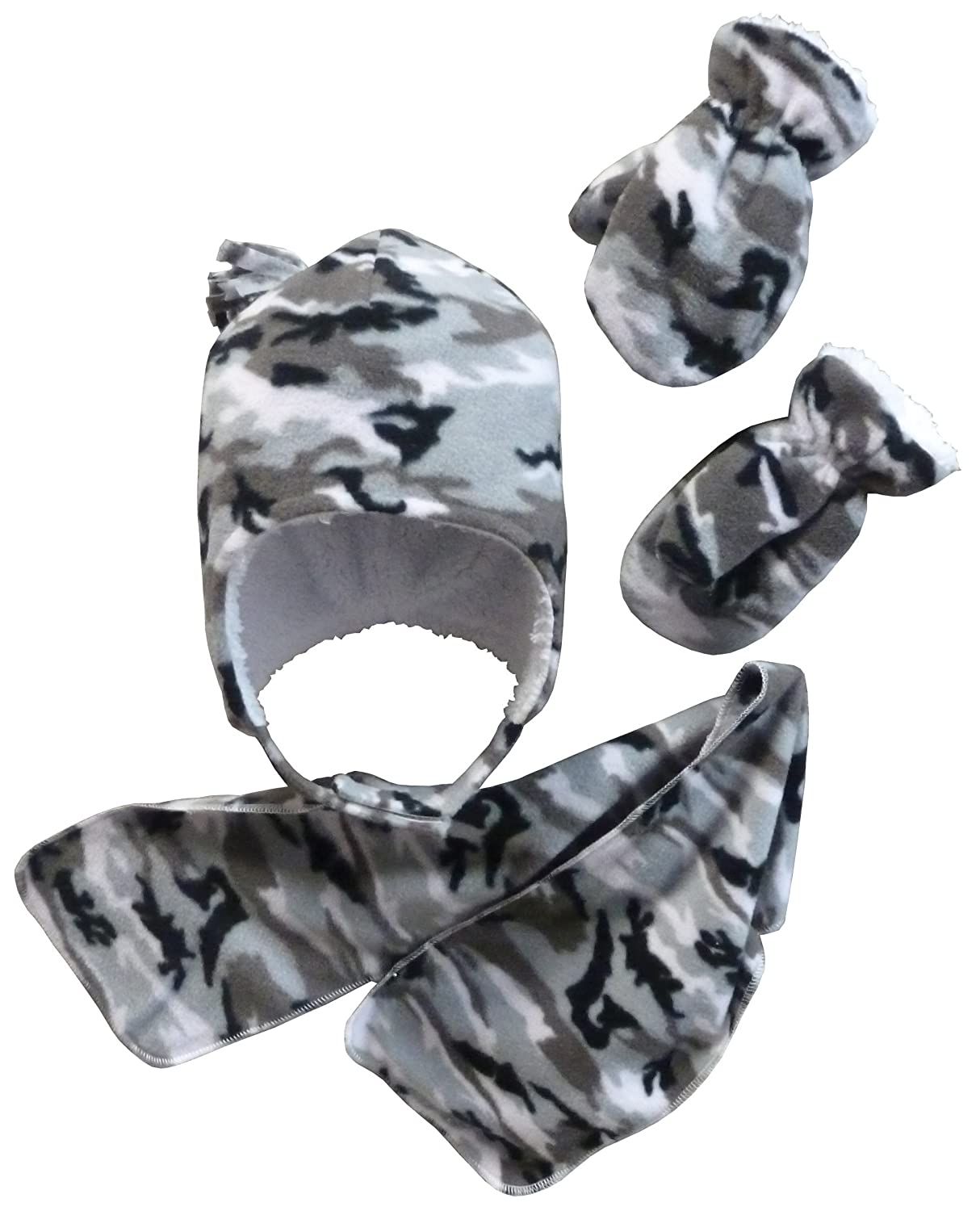N'Ice Caps Little Boys and Baby Camo Hat/Scarf/Mitten Fleece Set