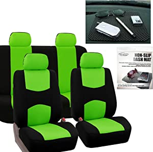 FH Group Vibrant Flat Cloth Full Set Car Seat Covers, Green/Black w. FH1002 Non-Slip Dash Grip Pad Mat- Fit Most Car, Truck, SUV, or Van