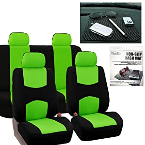 FH GROUP FB050114 Full Set Flat Cloth Car Seat Covers, Green / Black w. FH1002 Non-slip Dash Grip Pad Mat- Fit Most Car, Truck, Suv, or Van