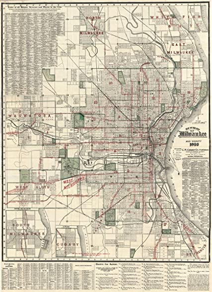 Amazoncom Historical Caspar Map Of Milwaukee Wisconsin X - Vintage milwaukee map
