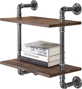 MyGift 17-Inch Industrial Black Metal Pipe & Rustic Brown Wood 2-Tier Wall-Mounted Shelf Unit