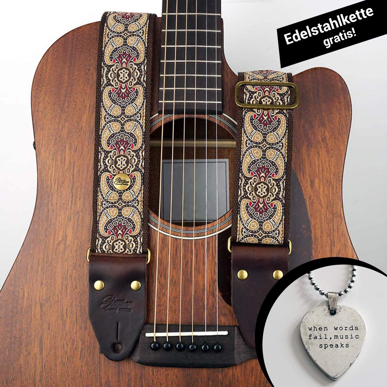 steyner® Premium Guitarra correa ❤ Bass | Paisly costura tejida ...