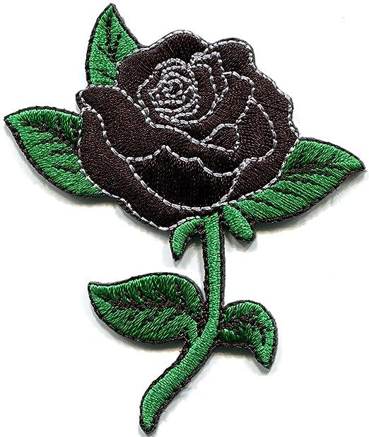 Rosa negra con amor Retro de tatuaje nuevo parche bordado apliques ...