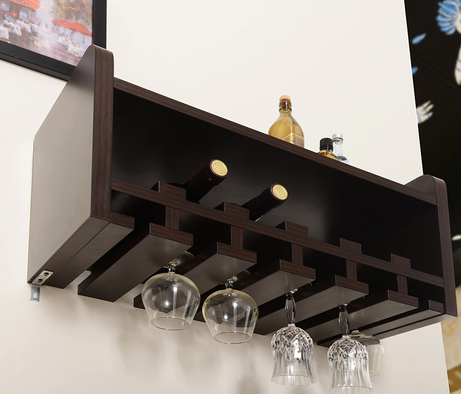 Amazon.com ioHOMES Venire Wall-Mounted Wine Rack and Glass Holder Walnut Kitchen u0026 Dining & Amazon.com: ioHOMES Venire Wall-Mounted Wine Rack and Glass Holder ...