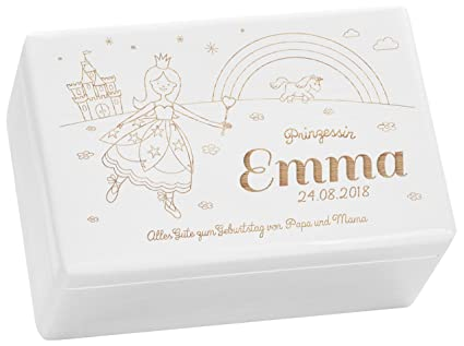 LAUBLUST Hojas Lust Caja de Madera con Grabado Personalizado con ❤ Princesa diseño ❤ ️