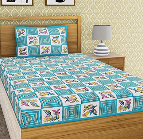 EMART Cotton, 104 TC, Single Bedsheet (220cm x 150cm) with One Pillow Cover (46cmx 69cm) Floral/Block Print (Blue)