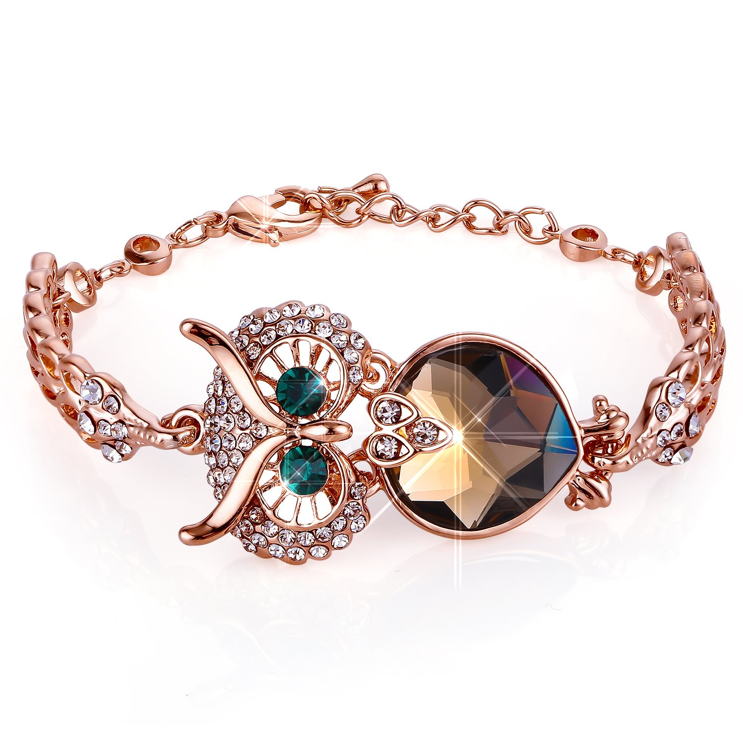 Menton Ezil Lucky Owl Bracelets With Turquoise Jewelry Charms Antique Golden Rhinestone Crystal for Womens Girls Gifts
