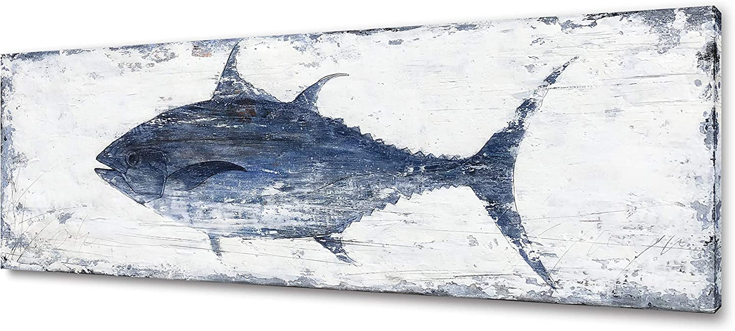 Yihui Arts Canvas Wall Art Abstract Fish Canvas Art- One Panels Nordic Minimalist Painting Large Pictures Canvas Artwork Framed for Home Office Decor (20Wx60L)