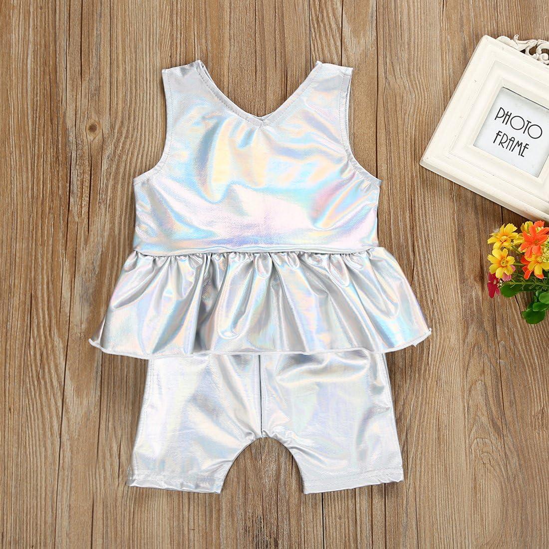Shorts Set Cenhope Baby Girls PU Shorts Set Silver Ruffle Sleeveless Vest