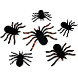 Black Halloween Spiders Pack of 6 In 3 Sizes Party Favors Decor