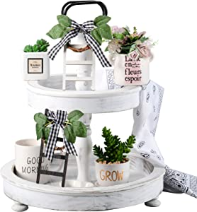 2 Pieces Wooden Farmhouse Tiered Tray Ladder Decor Tiny Ladder with Wreath Buffalo Plaid Rustic Farmhouse Decor Mini Ladder with Wreath Shelf Spring Stand Display Photo Prop (6.5 x 2.8 x 0.07 Inch)