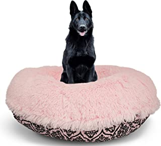 product image for BESSIE AND BARNIE Signature Versailles Pink/Bubble Gum Luxury Shag Extra Plush Faux Fur Bagel Pet/Dog Bed (Multiple Sizes)