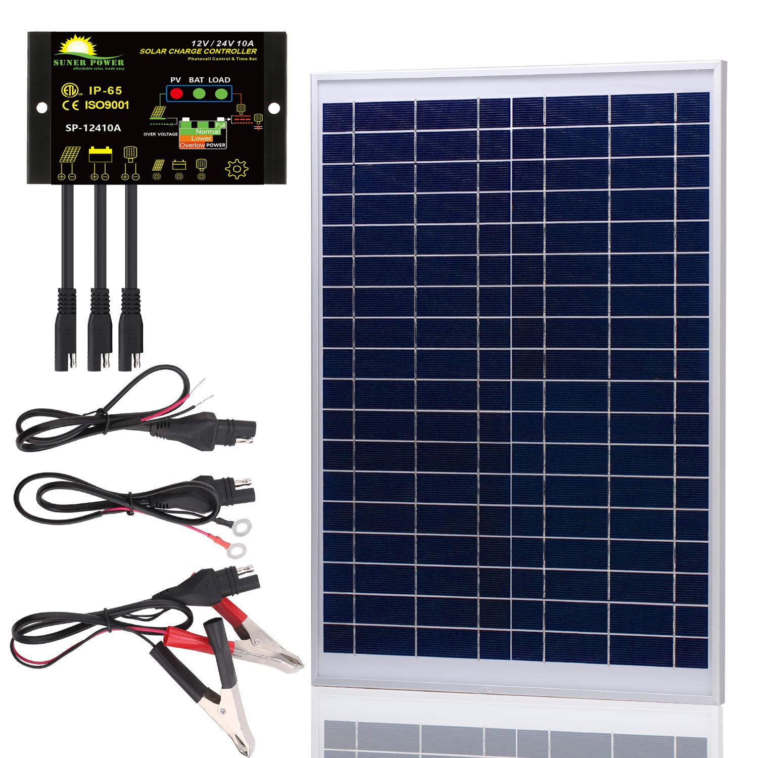 SUNER POWER [Upgraded] 20 Watts 12V Off Grid Solar Panel Kit - Waterproof 20W Solar Panel + Photocell 10A Solar Charge Controller with Work Time Setting + SAE Connection Cable Kits by SUNER POWER