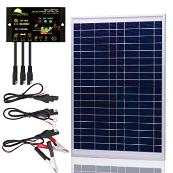 SUNER POWER [Upgraded] 20 Watts 12V Off Grid Solar Panel Kit - Waterproof 20W Solar Panel + Photocell 10A Solar Charge Controller with Work Time ...