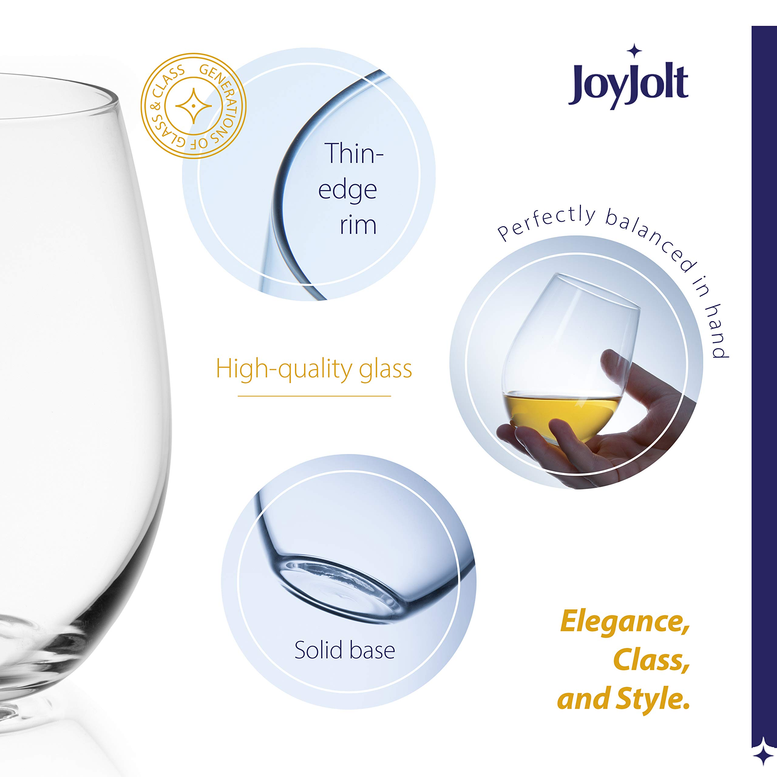 JoyJolt Spirits Stemless Wine Glasses for Red or White Wine (Set of 4)-19-Ounces by JoyJolt (Image #3)