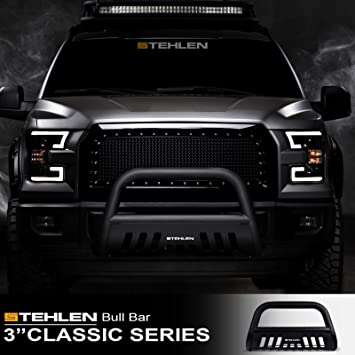 Matte Black For 07-18 Chevy Silverado//Tahoe//Suburban//Avalanche//GMC Sierra//Yukon Stehlen 714937184077 3 Classic Series Bull Bar 07-14 Cadillac Escalade