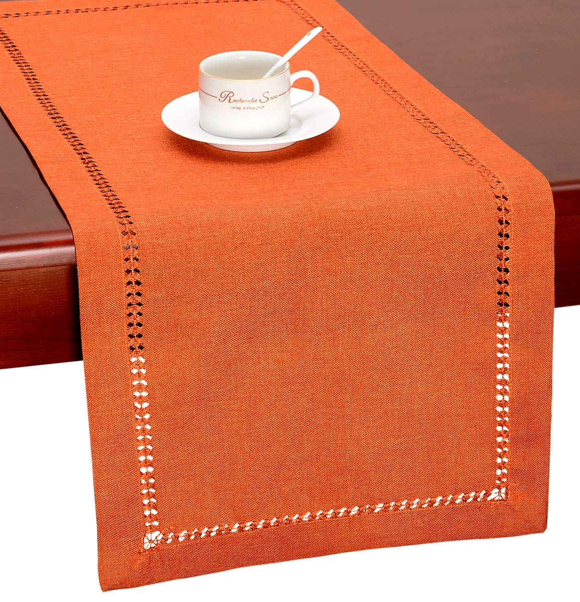 GRELUCGO Handmade Hemstitch Orange Thanksgiving Table Runner Or Dresser Scarf (14 x 60 Inch)