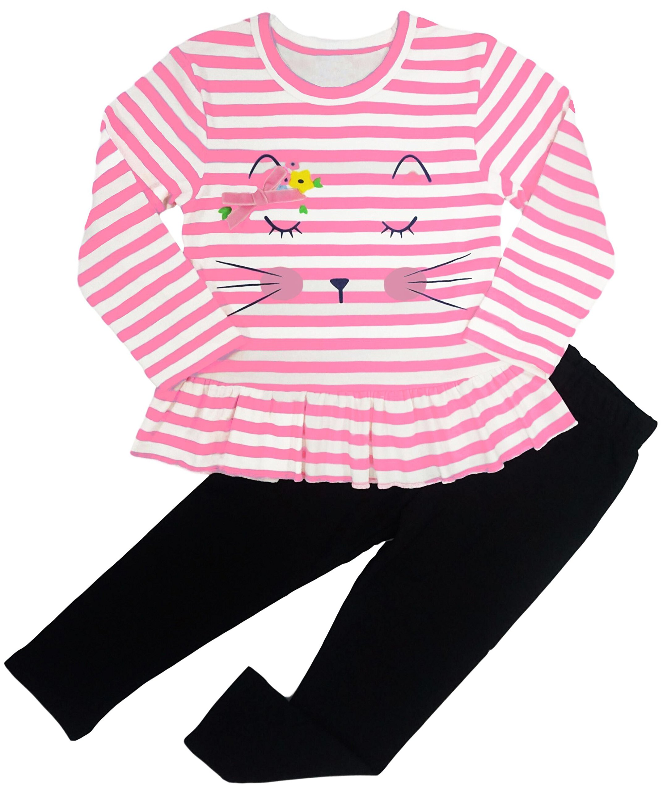 BomDeals Adorable Cute Toddler Baby Girl Clothing 2pcs Outfits (Age(2T), Strip/Pink)