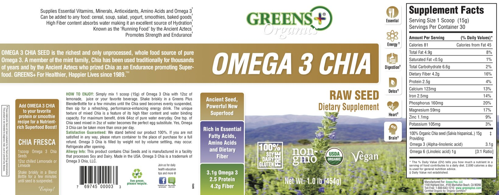Organic Omega3 Chia Ancient Raw Seed | Dietary Food Supplement | Source of Hydration & Powerful Superfood | Non-GMO, Soy, Dairy & Gluten-Free | 1 lb Jar | by Greens+