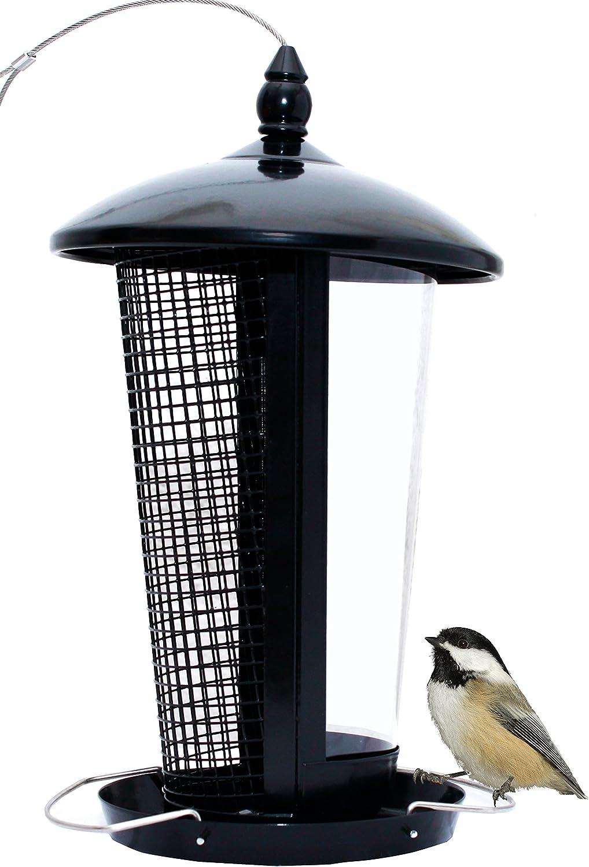 Comedero para aves silvestres, atrae más pájaros, perfecto como decoración de jardines, para pájaros pequeños y medianos. Fácil de limpiar y de llenar. Incluye gancho. Un gran regalo y muy divertido