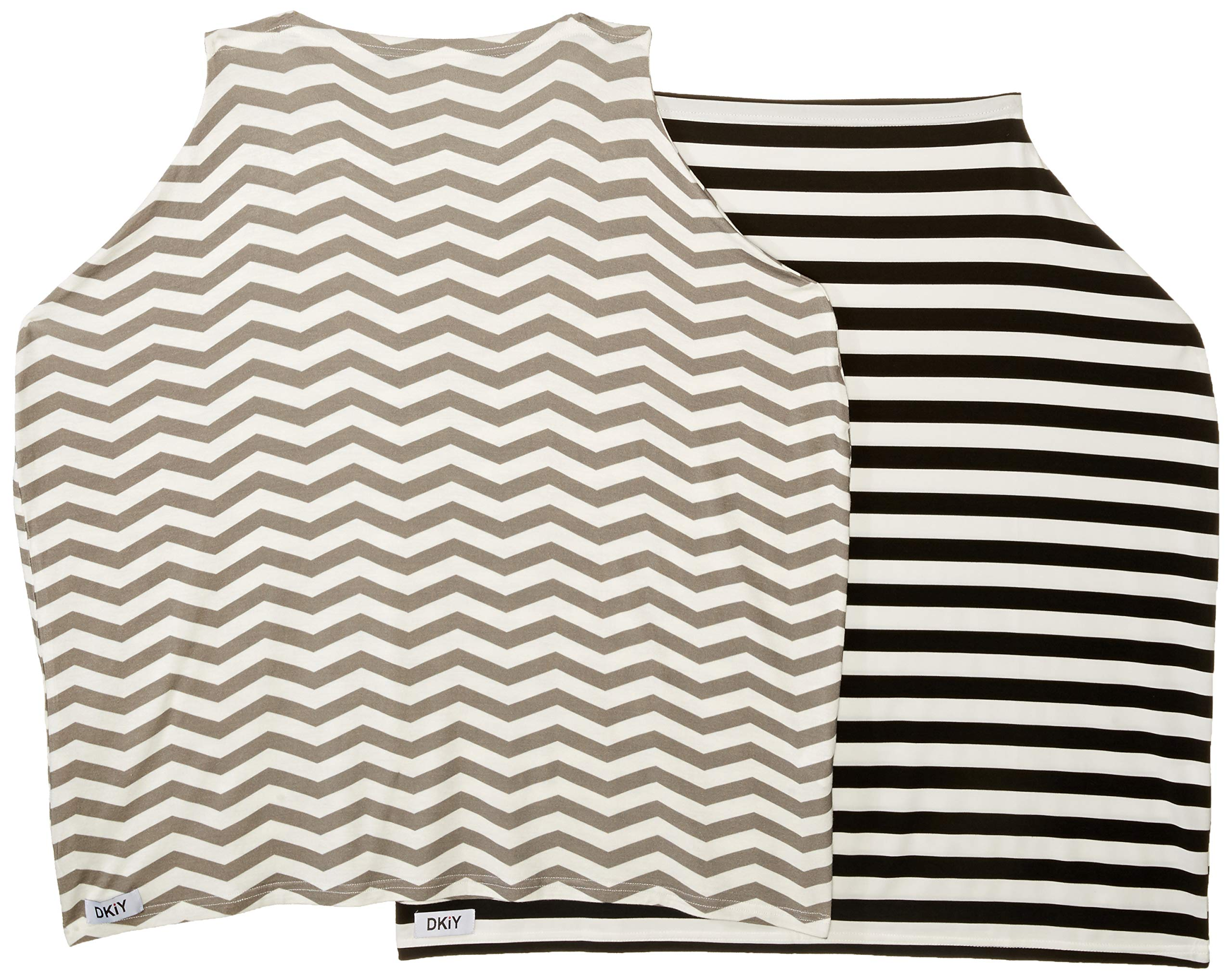 Nursing Cover -Pack of 2- for Privacy During Breastfeeding, Baby Car Seat and Stroller Cover Includes 1 Black & White Stripes Plus 1 Gray & White Chevron Design