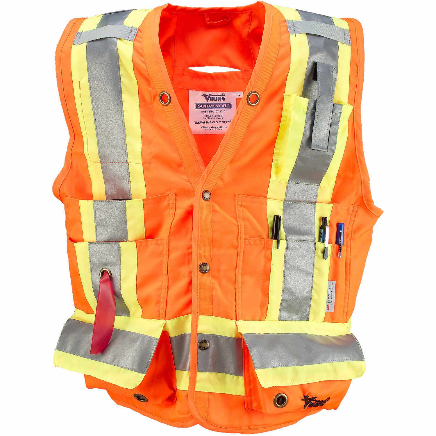 Viking Surveyor Hi-Vis Safety Vest, Orange, 3X-Large
