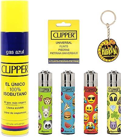 Image of HIBRON Clipper 4 Mecheros Encendedores Diversos Surtidos Bonitos, 1 Carga Gas Encendedor Clipper 300 Ml,9uds De Piedra Clipper Y 1 Llavero Gratis 1-10003-2