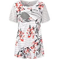 S-Comfy Women Maternity Nursing Tops Floral Stripe Short Sleeve Breastfeeding Shirt Clothes