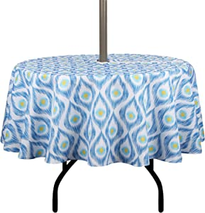 EHouseHome Outdoor Indoor 60inch Round Tablecloth with Umbrella Hole and Zipper, Waterproof Zippered Patio Table Cloths, Spring/Summer Table Covers for Backyard Circular Table/BBQs/Picnic…