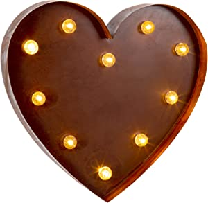 Truu Design Iron Parties, Weddings, Events & Home Decorative Heart Shaped Metal LED Marquee Sign, Brown