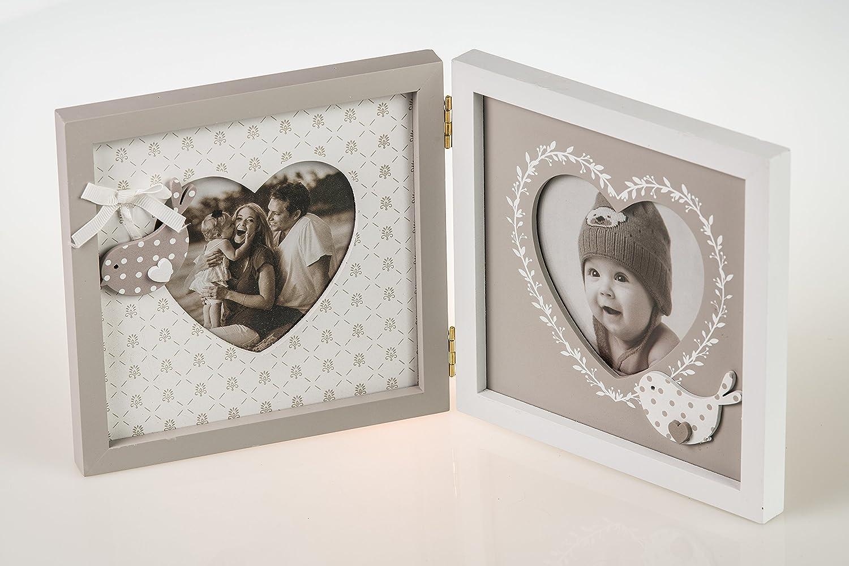 Doppel-Fotorahmen mit Herzausschnitt, zwei Bilderrahmen ...