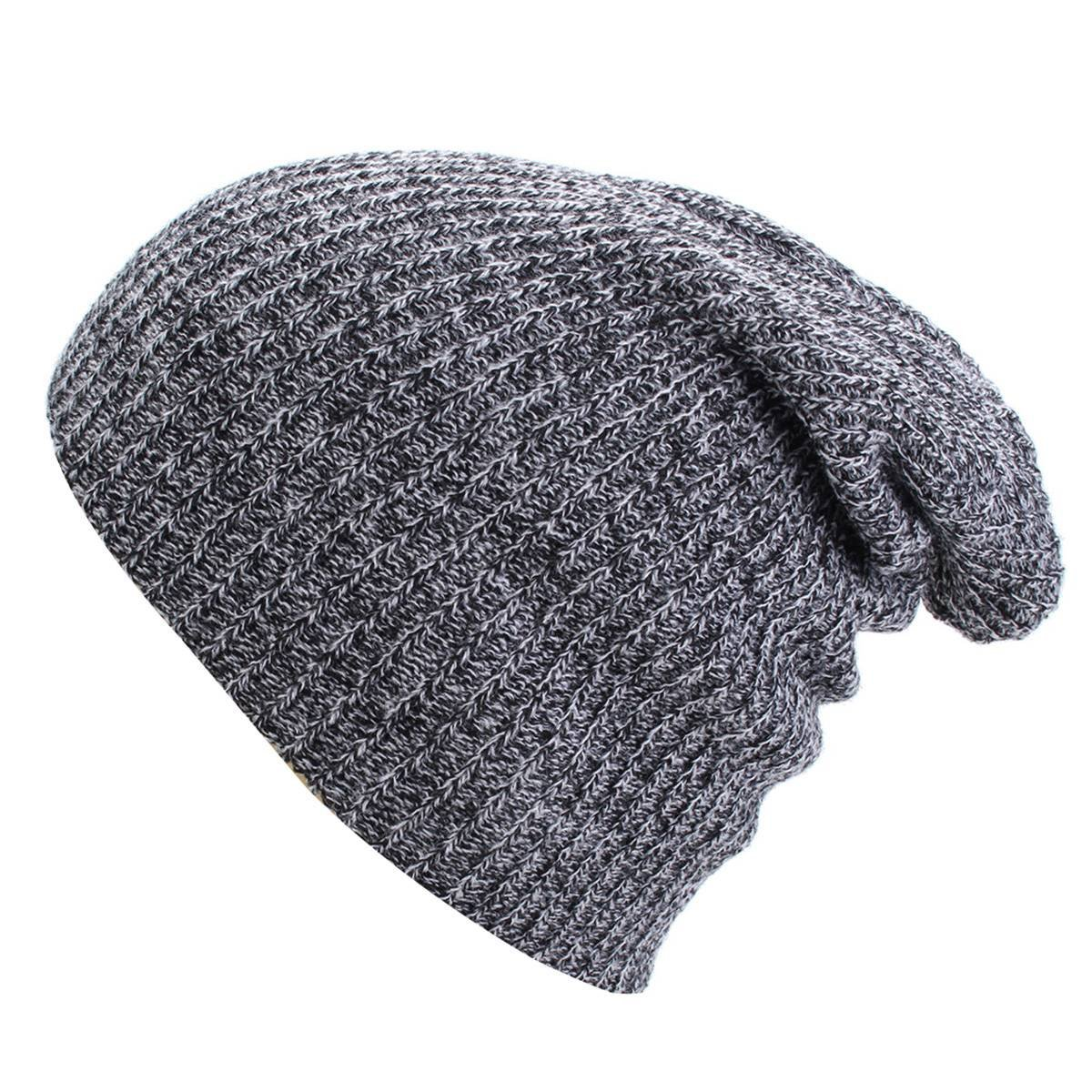 OUTERDO Fashion Men Women Winter Knit Oversize Baggy Beanie Hat Ski Slouchy Skull Cap deep gray
