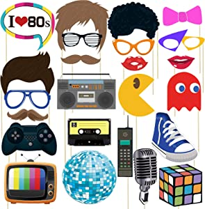 musykrafties 80s Party Photo Booth Props 24 Count