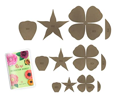 Paper Rose Template Kit 1 8 4 Styles Of Rose And Poppy Leaf Templates And Instruction Book Included Rose