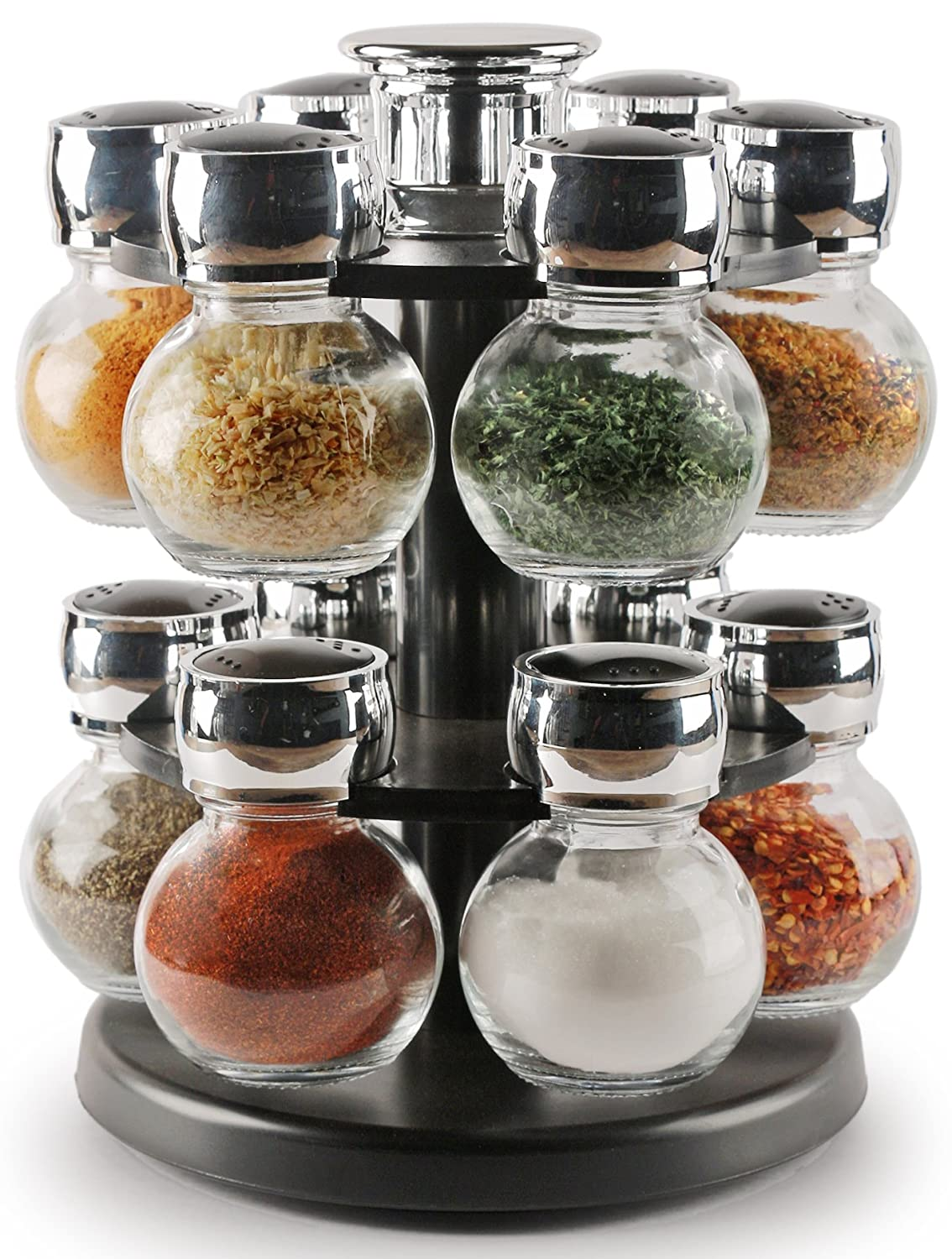 Palais Glassware Tournant Collection, Revolving Countertop Carousel Herb and Spice Rack with 3 Oz Glass Jars (Set of 12 Jars)