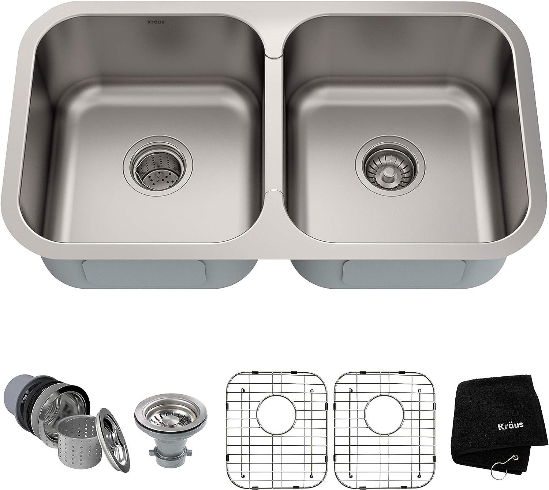 Kraus Kbu29 32 Inch Undermount 50 50 Double Bowl 18 Gauge Stainless Steel Kitchen Sink Amazon Com