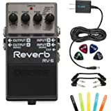 Boss RV-6 Digital Reverb Mono or Stereo Pedal -INCLUDES- Blucoil Power Supply Slim AC/DC Adapter for 9 Volt DC 670mA, 4 Pack of Guitar Picks AND 2 Hosa 6-inch Molded Right-Angle Patch Cables