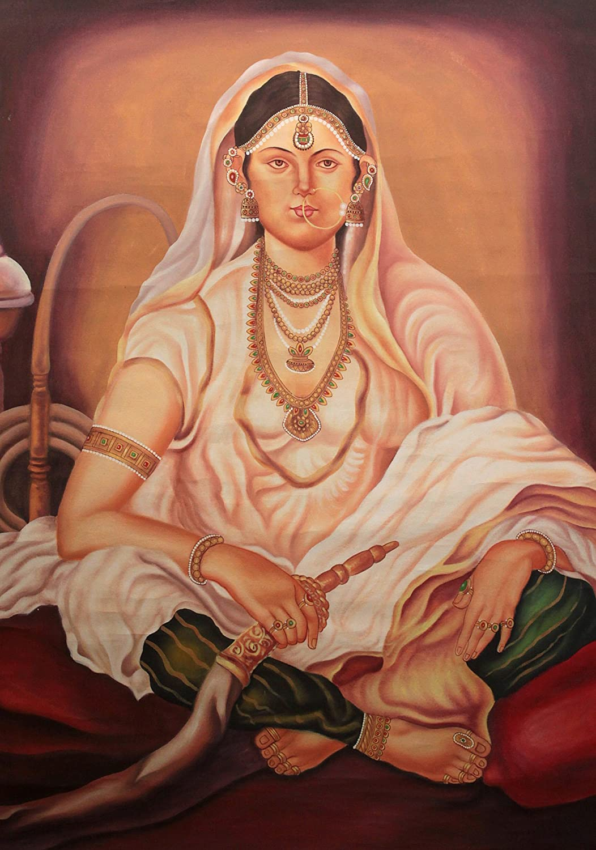 Señora con la cachimba - óleo sobre lienzo