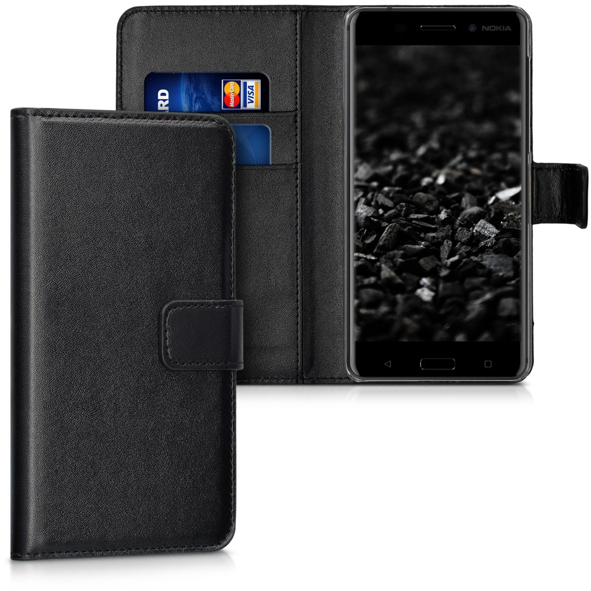 kwmobile Elegant synthetic leather case for the Nokia 6 with magnetic fastener and stand function in black