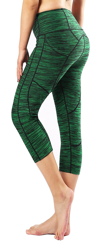 Blackish Green Sugar Pocket Women's Workout Leggings Running Tights Yoga Pants Red