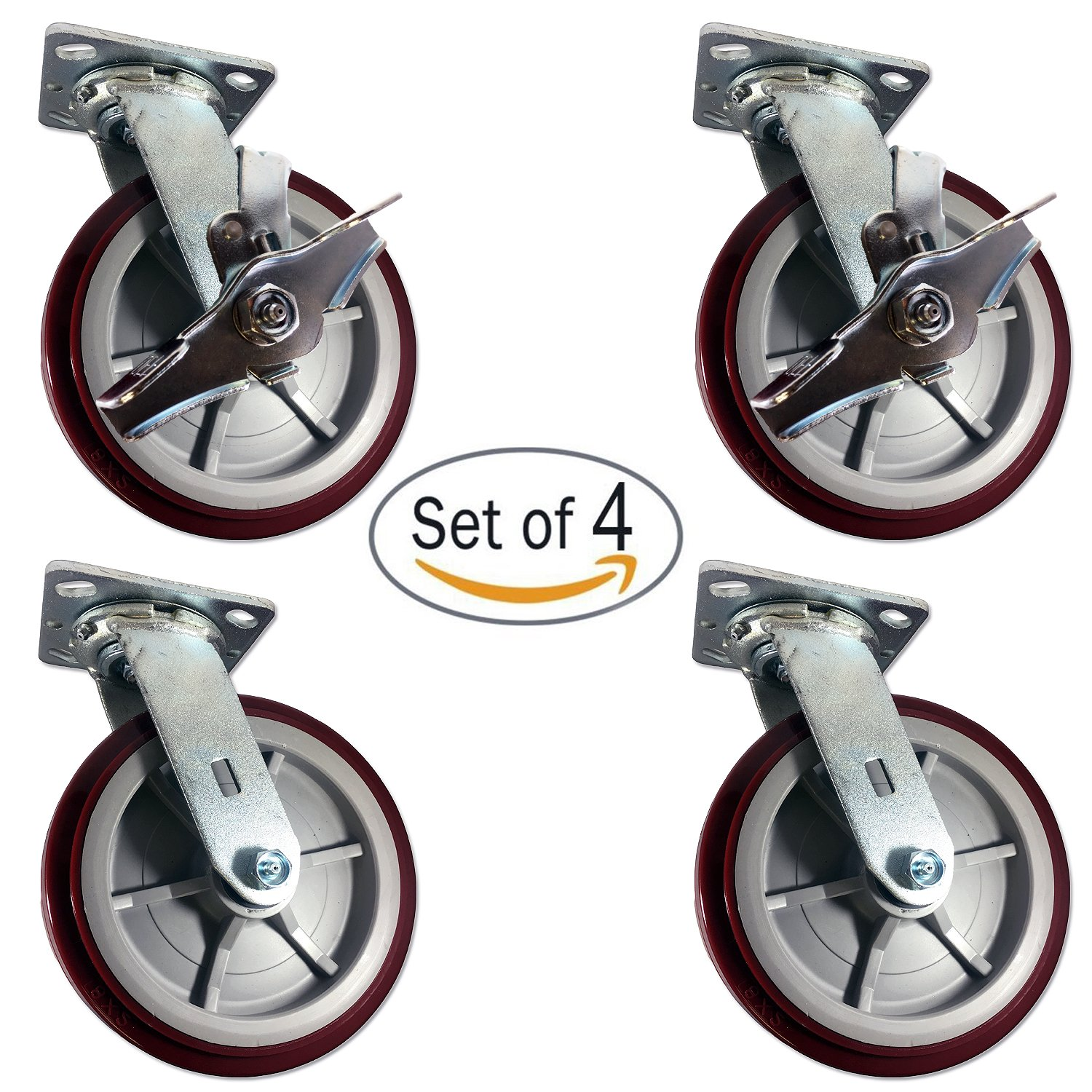 Caster Barn - Heavy Duty Polyurethane Swivel Casters with Brake, 8'' x 2'' Size (Pack of 4)