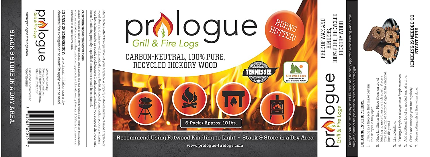 amazon com prologue grill u0026 fire logs 6 pack 8 u0027 u0027 logs 10 lbs