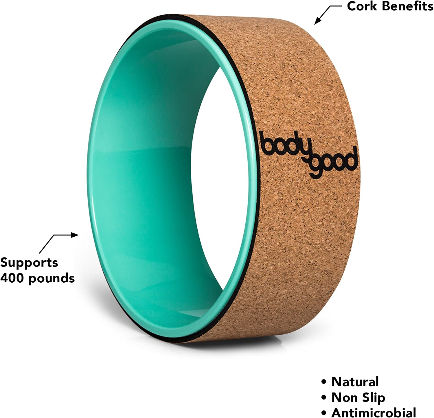 BodyGood Cork Yoga Wheel. Pro Grade, 13-inch Dharma Yoga Prop Supports up to 500 lbs. Improve Back Bends, Deepen Practice or Release Tight Muscles