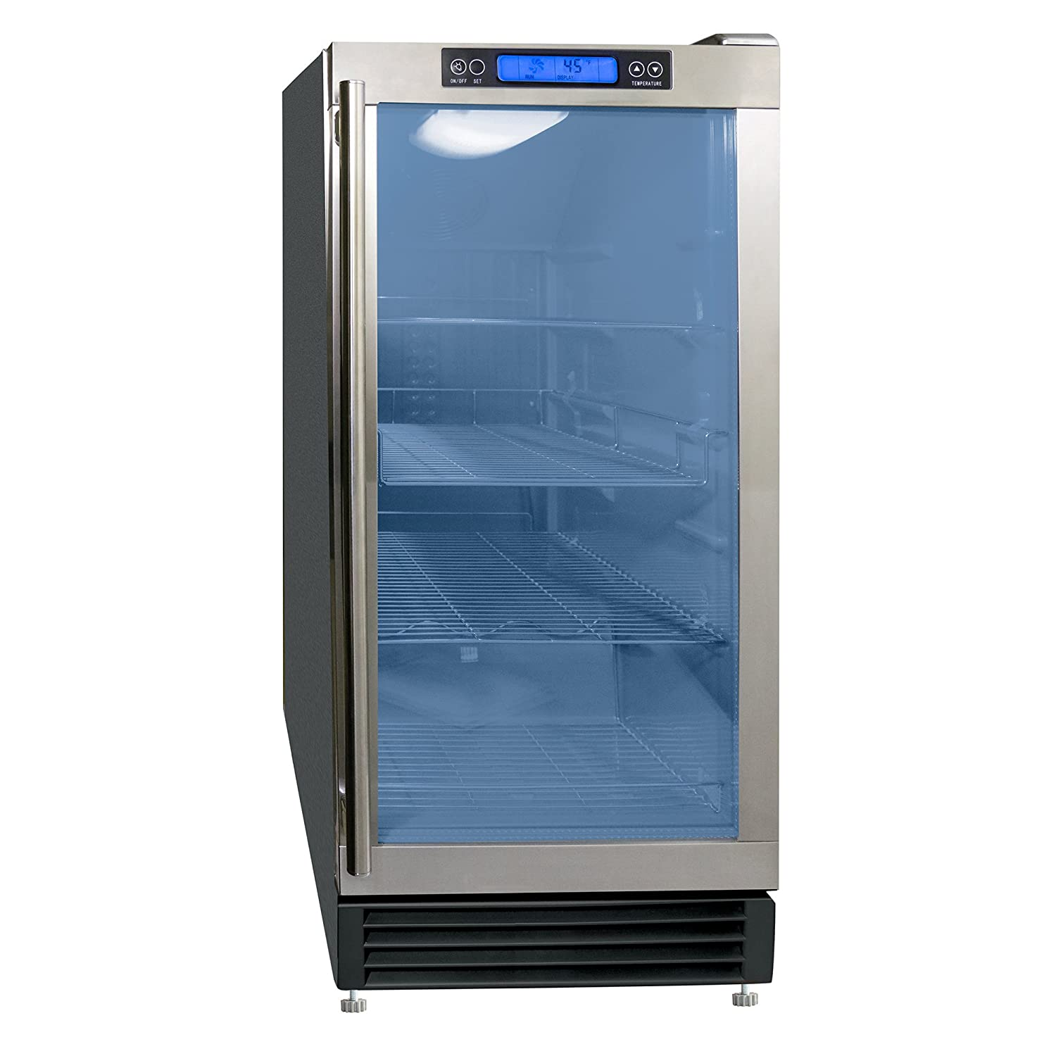 Maxx Ice Indoor Built-In Glass Door Beverage Refrigerator Cooler Center with Internal LED and Digital Controller, Black