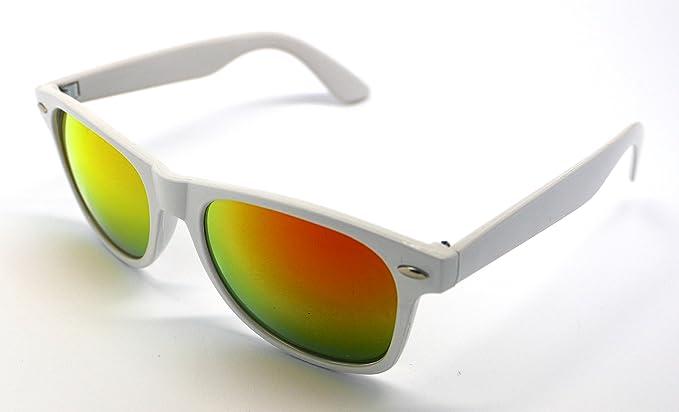 Gafas de Sol Blanco Pasta Espejo Dorado Alta Calidad UV 400 ...