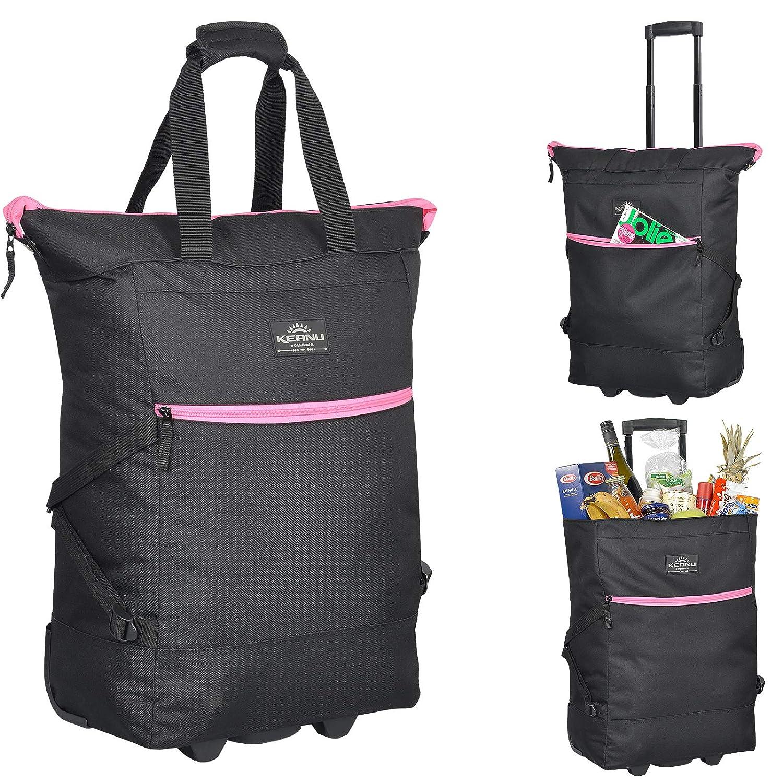 KEANU Einkaufstrolley Wheel Trolley Shopping Damentasche Einkaufsroller Korb Shopper Trinity FABRAUSWAHL (Schwarz Pink Trims)