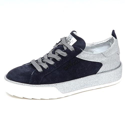 E3022 sneaker donna HOGAN REBEL R320 scarpe blu/argento glitter shoe woman