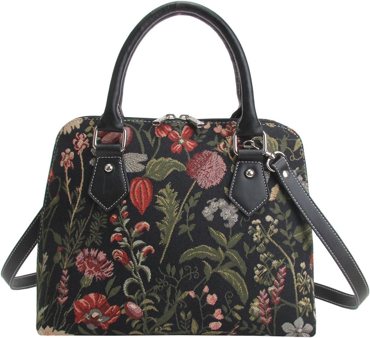 Bolso de hombro convertible para mujer, diseño lienzo tapete jardín floral negro, de Signare