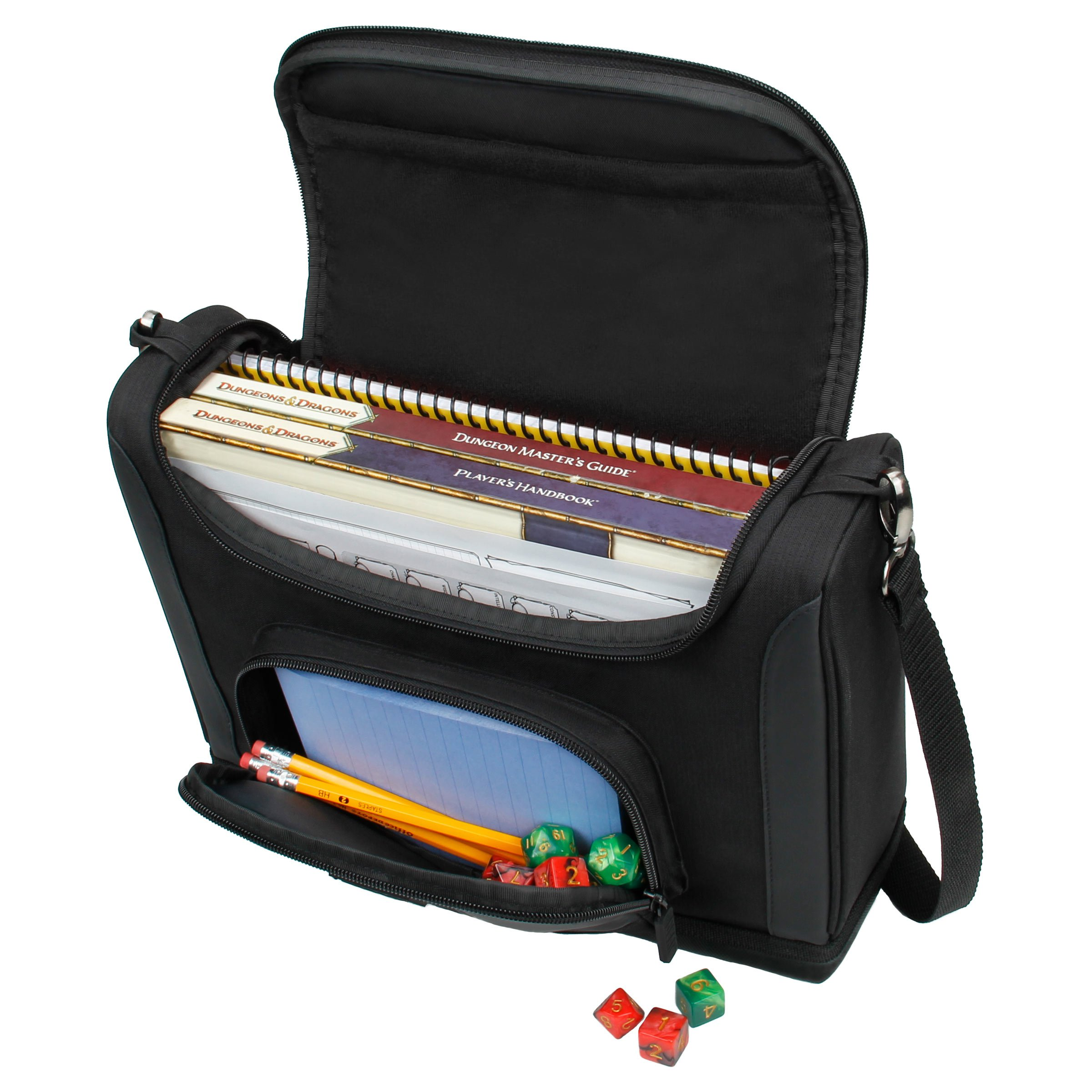 USA GEAR Compact Travel Bag Compatible with Dungeons and Dragons Accessories - Small DND Bag fits RPG Player Essentials, Player's Handbook, Character Sheets, Dice, Tokens, Mini Player Items (Black)