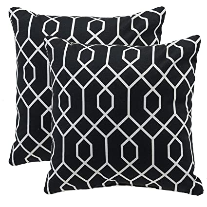 Miraculous Tinas Home Black Outdoor Pillows Waterproof Geometric Throw Pillow For Patio Bench Swing Couch Decor Set Of 2 16X16 Evergreenethics Interior Chair Design Evergreenethicsorg